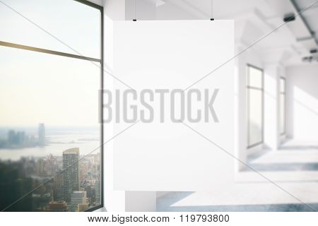 loft interior with blank poster mock up 3d render poster