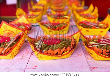 Carefully Prepared Offerings On An Altar At A Buddhist Temple