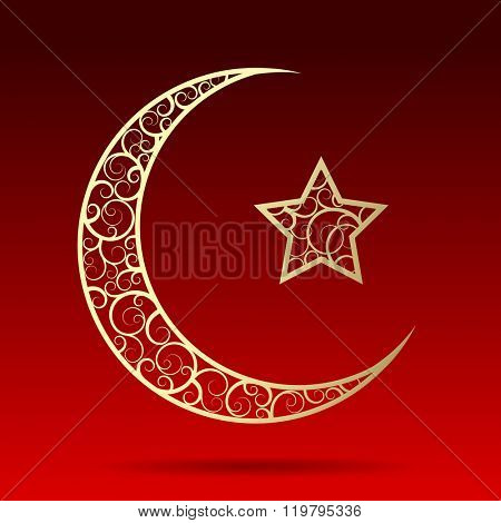 Crescent gold moon with star isolated on dark red background. Islamic design Ramadan Kareem greeting card. Vector illustration.