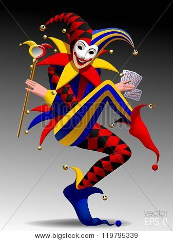 Joker with playing cards and mirror on dark background. Three dimensional stylized drawing. Vector illustration