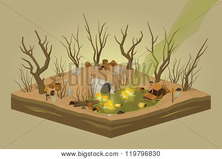 Toxic waste dump. 3D lowpoly isometric vector concept illustration poster