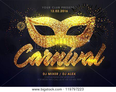 Carnival Party celebration elegant Flyer, Banner or Pamphlet with Mask.