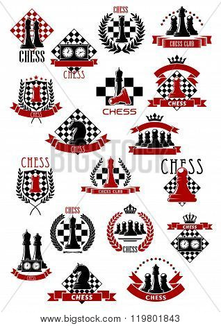 Chess game icons with chessboards and pieces