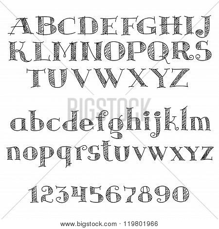 Alphabet letters font with cross-hatching