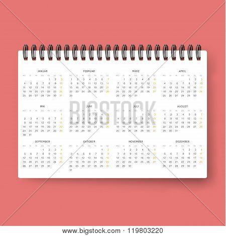 Realistic calendar. Calendar template in Dutch 2016. Ready calendars