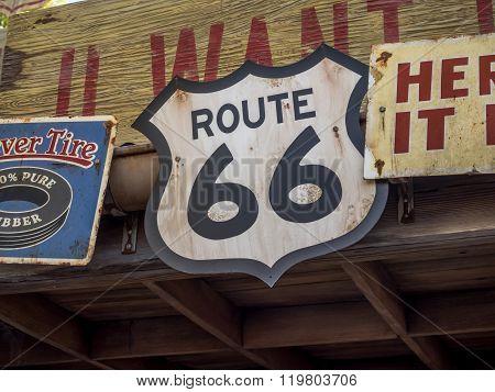 Vintage Route 66 road sign