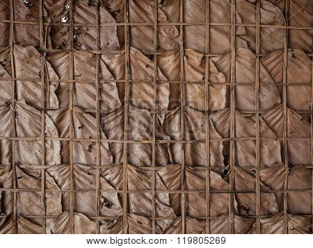 Traditional Wall Made Of Dry Leaves