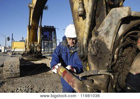 mechanic and bulldozer