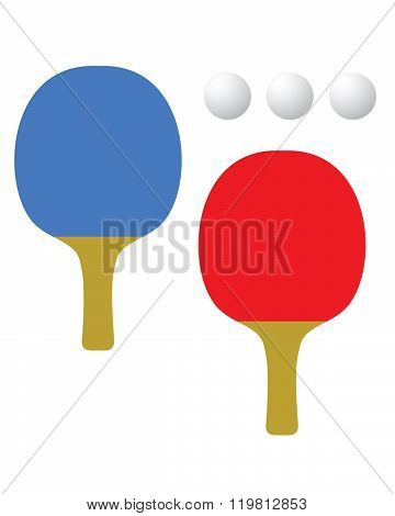 Vector Table Tennis Racket and Ball Set