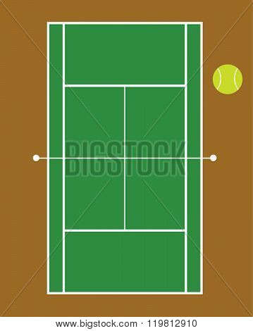 Vector Tennis Court and Ball