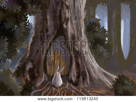 Cartoon Illustration Of Cute White Rabbit Bunny Is Standing In Front Of A Old Wooden Door Tree House
