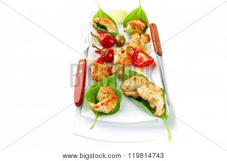 chick chops in green leaf on white