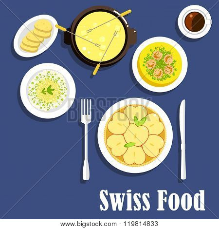 Swiss cuisine dishes and cheese fondue