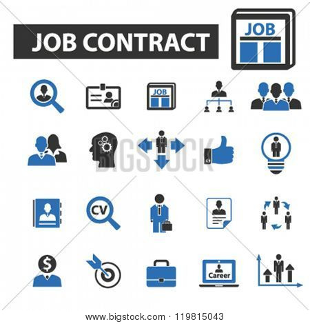 job contract icons, job contract logo, job contract vector, job contract flat illustration concept, job contract infographics, job contract symbols,
