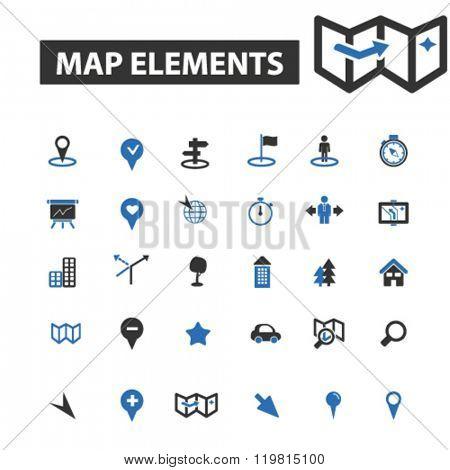 map elements icons, map elements logo, map elements vector, map elements flat illustration concept, map elements infographics, map elements symbols,