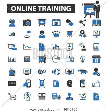 online training icons, online training logo, online training vector, online training flat illustration concept, online training infographics, online training symbols,