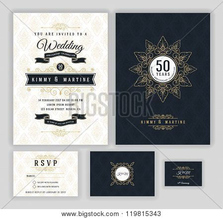 Wedding anniversary celebration party invitation design template.