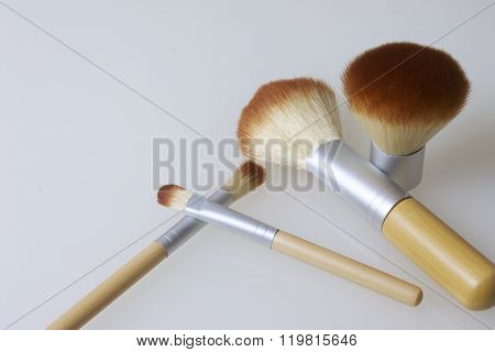 A set of bamboo brushes for applying makeup