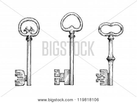 Vintage skeleton keys in engraving style