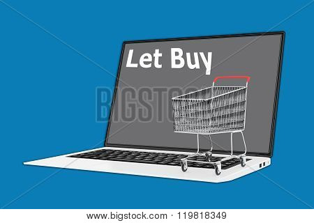 Render illustration of Let Buy concept with a supermarket cart placed on the keyboard. poster