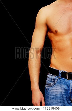 Young athletic man with muscular torso poster