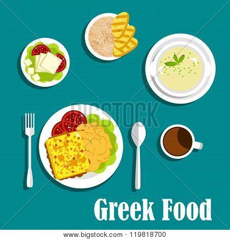 Greek dishes of mediterranean cuisine