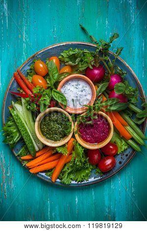 Veggie crudite platter with three different dips