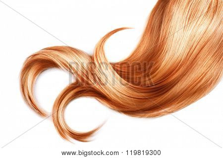 Red Hair isolated over white background. Shiny Healthy colored hair lock closeup