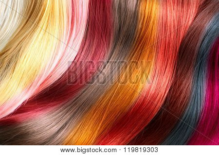 Hair Colors Palette. Hair Texture background, Hair colours set. Tints. Dyed Hair Color Samples