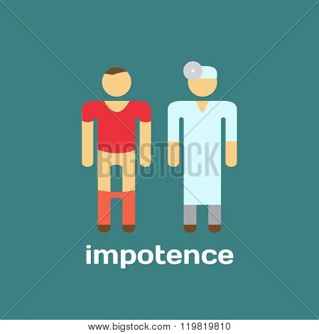 Manifestation of impotence, consult doctor. Vector illustration.