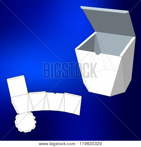 Box with Die Cut Template. Packing box For Food, Gift Or Other Products. On White Background Isolated. Ready For Your Design. Product Packing Vector EPS10. poster