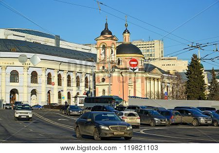 Moscow, Russia - February 18.2016. View Gostiny Dvor and the Temple of the Great Martyr Varvara on Vasilyevsky Spusk