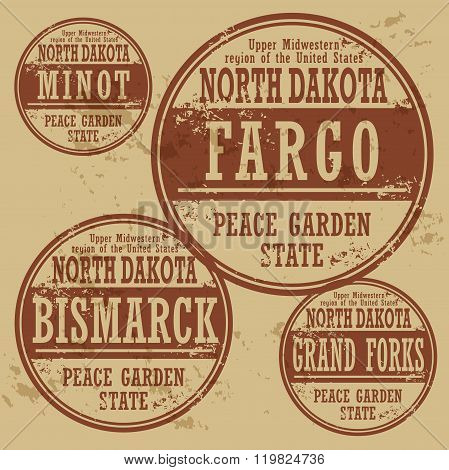 Grunge Rubber Stamp Set With Names Of North Dakota Cities