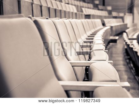Close up and selective focus of Empty rows of armchairs in hall