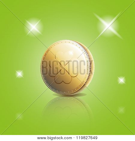 Gold Coin With Four Leaf Clover