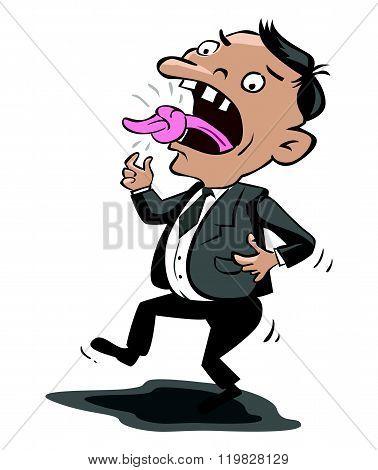 Tied tongue man