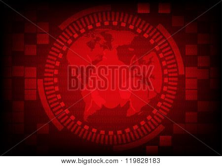 Red Gear Ring With Malware Bug A Computer Virus On World Map On Binary Code Background.vector Illust
