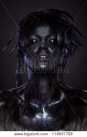 Beautiful Woman, Black Body Over Dark Background, Glitters And Feathers