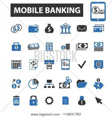 mobile banking icons, mobile banking logo, mobile banking vector, mobile banking flat illustration concept, mobile banking infographics, mobile banking symbols,