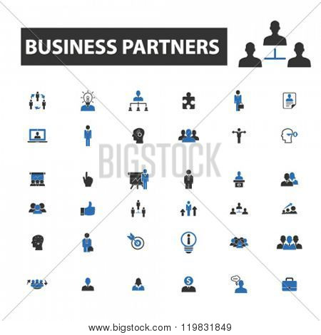 business partners icons, business partners logo, business partners vector, business partners flat illustration concept, business partners infographics, business partners symbols,