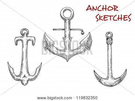 Old stock anchors sketch of sailing ships