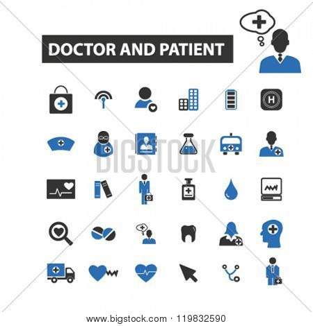 doctor and patient icons, doctor and patient logo, doctor and patient vector, doctor and patient flat illustration concept, doctor and patient infographics, doctor and patient symbols,