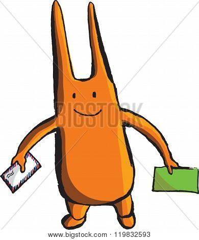 A Bizarre Orange Wight With Long Ears And Envelopes