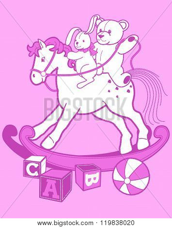 Girl's Rocking Horse With Rabbit And Teddy Bear
