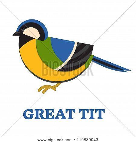 Grea Blue Tit Line Flat Icon