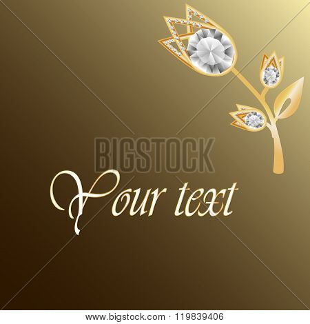 Gold jewelry background with diamond brooch. Jewelry flower. Jewelry floral decoration. Can use for greeting card or invitation template or your design. Vector illustration poster