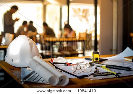 Architectural Office Desk Background Construction Project Ideas Concept, With Drawing Equipment With