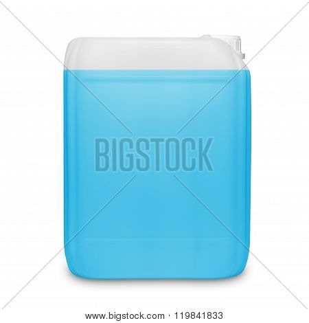 Blue transparent cleaning supply product container isolated on white