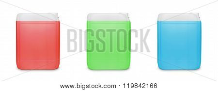 Three transparent cleaning supply product container isolated on