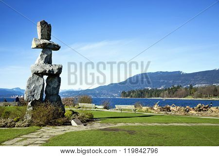 Inukuk at English Bay in Vancouver.  An inuksuk is a human-made stone landmark.